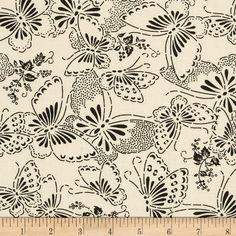 """110"""" Wide Quilt Backing Butterfly Cream/Black from @fabricdotcom  Use this extra wide cotton print for quilt backing, bedding and more."""