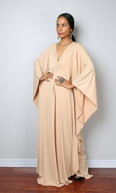 Beige Dress  Light Beige Kaftan  Kimono Butterfly by Nuichan | An amazing long trendy kaftan, which stands out from the crowd because of its contemporary design and gorgeous green colour.  A glamour dress like you haven't seen before. This long elegant garment looks like a classic styled dress at first but it features a funky, modern styled sleeves, which starts at the shoulder and runs all the way down. A true modern interpretation of the classic Roman toga.