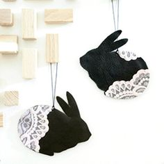Easy peasy Easter decorations. Leather bunnies with lace.
