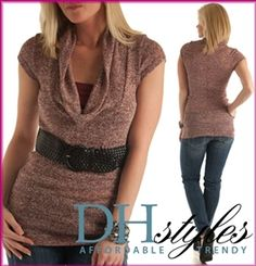 Wine Cowl Neck Cap Sleeve Sweater Tunic Top w Belt