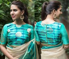 Looking for new blouse back neck designs to your silk (aka pattu) sarees? Check out our latest 13 blouse models to find out what is trending this season. Blouse Back Neck Designs, Best Blouse Designs, Simple Blouse Designs, Stylish Blouse Design, Sari Blouse Designs, Designer Blouse Patterns, Choli Designs, Blouse Styles, Mehndi Designs