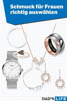 Wie wählt man den richtigen Ring oder die perfekte Kette für eine Frau aus? Hier die Checkliste für die Schmuckauswahl (von Halsketten über Ohrringe bis Damenuhren). #schmuck #frauen #checkliste #ratgeber #ring #kette #frauenschmuck Diamond, Jewelry, Man Watches, Gift Ideas For Women, Woman Face, Stud Earring, Silver, Jewlery, Jewerly