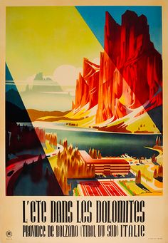 Heinrich C. Berann - Original Vintage ENIT Summer Travel Poster For The Dolomites Bolzano Tyrol Italy Tourist Agency, Europe Centrale, Italian Posters, South Tyrol, Northern Italy, Art Graphique, Illustrations, Advertising Poster, Vintage Travel Posters