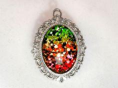 Neon Splatter Glitter Nail Polish Necklace - 'Neon Graffiti' Handmade Sparkly Black and White Silver-plated Nail Varnish Pendant Jewelry