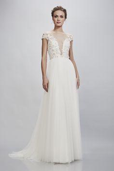 d0bbd0c58f73 Rosetta – THEIA Bridal - sexy illusion ethereal plunging wedding gown - Cap  sleeve illusion bateau neckline