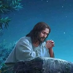 Jesus betet im Garten Gethsemane – Matthäus 26 - - Jesus Wallpaper, Pictures Of Jesus Christ, Bible Pictures, Christian Images, Christian Art, Jesus Cartoon, Jesus Photo, Jesus Mother, Jesus Painting