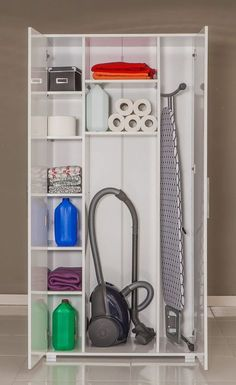 Ideas For Utility Closet Storage Ideas Utility Room Storage, Utility Closet, Laundry Room Organization, Laundry Room Design, Closet Storage, Storage Spaces, Laundry Rooms, Ironing Board Storage, Utility Cupboard