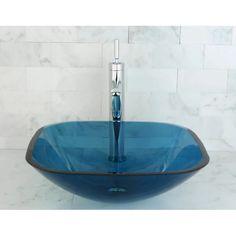 Shop Blue Tempered Glass Vessel Bathroom Sink - Overstock - 6194184 Tempered Glass, Glass Bathroom, Vessel Sink Bathroom, Blue Bathroom, Remodeling Tools, Bathroom Sink, Glass, Sink, Glass Vessel Sinks