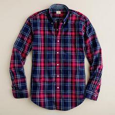 NWT Mens L J Crew Green Tartan Plaid Heathered Cotton Shirt Classic Fit