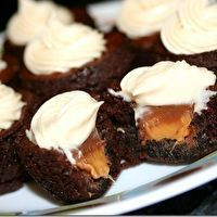 Rolo Brownie Bites with Caramel Cream Cheese Frosting - YUM!!