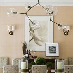 Lindsey Adelman chandelier dining salmon walls by S.B Long Interiors Inc Photo by John Gruen