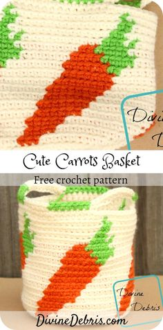 Learn to make the Cute Carrots Crochet Basket, a fun and easy tapestry crochet basket featuring repeated carrots, from a free pattern on DivineDebris.com#crochet #freepattern #baskets #tapestry Easter Crochet Patterns, Crochet Basket Pattern, Crochet Hooks, Free Crochet, Crochet Baskets, Knitting Patterns, Crochet Bags, Easy Crochet, Crochet Stitches