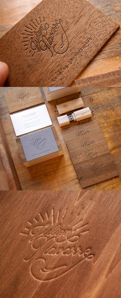 Luxury Letterpress Printed Wooden Business Card For A Wedding Photographer