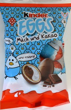 "The ""Ferrero Kinder Chocolate Eggs - Milk & Cocoa Cream"" are small chocolate eggs, filled with delicious milk & cocoa cream and a d… Milka Chocolate, Chocolate Coating, Easter Chocolate, Easter Candy, Easter Eggs, Kakao, All Brands, Mixed Drinks, Easter Baskets"