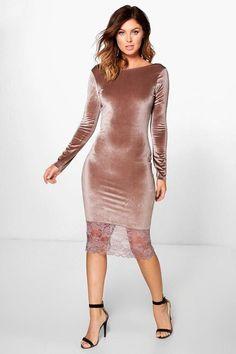 boohoo Avianna Lace Hem Velvet Midi Dress
