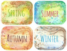 Each set of four professionally printed cards comprises Spring, Summer, Autumn, and Winter.  The background of each card is a different piece of my