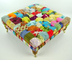 Bespoke large patchwork footstool/coffee table in by JustinaDesign