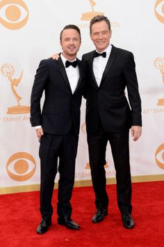 Tuxes and bow ties - the breaking bad way. Aaron Paul and Bryan Cranston.