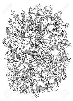 Adult Coloring Book Flowers New Vector Illustration Flowers Zentangle Doodle Zenart Pattern Coloring Pages, Cute Coloring Pages, Printable Adult Coloring Pages, Mandala Coloring Pages, Coloring Books, Flower Pattern Drawing, Zen Colors, Zentangle, Book Flowers