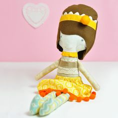 Carlota is a joyful little doll girl that loves to play with her friends! Carlota is a one-of-a-kind handmade fabric doll – made with cotton fabrics, wool and linen.   This rag doll measures 16,5 in (42 cm)    . for combined shipping please send me an email    © 2012 PinkNounou