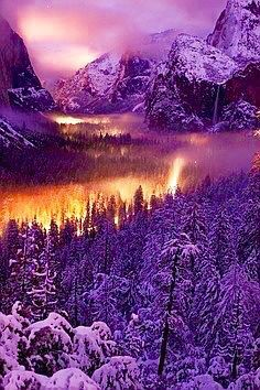 A really pretty winter scene accented with purple shadowing and yellow sun rays.