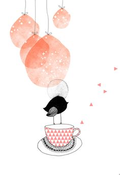 L'oiseau bulle illustration bird pink cup