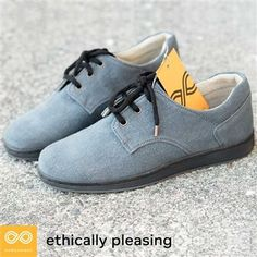 Handmade vegan Hamilton hemp shoes! These sneakers are a beautiful suede blue-grey, breathable, comfortable, and stylish. Eco-friendly, sustainable, sweatshop-free, and chemical-free. Totally animal-friendly and cruelty-free, too. Handcrafted by a small team of European artisans at the Rawganique Atelier.