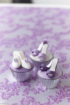 How cute are these mini shoes on up cakes? Adorable!