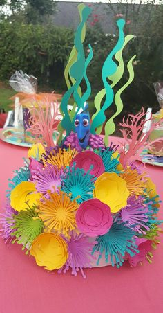 How to Make Underwater Birthday Party Decorations on a Budget – Birthday Ideas – Grandcrafter – DIY Christmas Ideas ♥ Homes Decoration Ideas Little Mermaid Birthday, Little Mermaid Parties, Deco Theme Marin, Birthday Party Decorations, Birthday Parties, Ocean Party Decorations, Kids Party Centerpieces, Paper Centerpieces, Tea Parties
