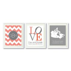 Three Print Set-11x14-Chevron Monogram Initials-Wedding Map--LOVE-Family Establishment Date-Coral-Charcoal-Grey-Persimmon OR Choose Colors-3 on Etsy, $58.00