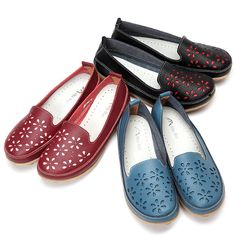 $14.70 Big Size Soft Brethable Leather Floral Hollow Out Slip On Flat Loafers