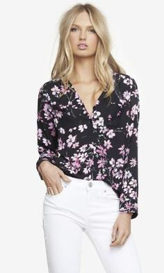 FLORAL PRINT GATHERED V-NECK BLOUSE from EXPRESS