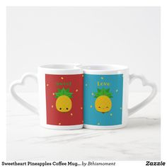 Sweetheart Pineapples Coffee Mug Set in Love - red gifts color style cyo diy personalize unique Couples Coffee Mugs, Coffee Mug Sets, Mugs Set, Coffee Cup, Kawaii Pineapple, Pineapple Fruit, Red Gifts, Love Gifts, Sweet Love Text