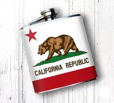 Premium Flask California State Flag Whiskey Flask by OsoAndBean