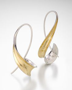 Long+Hook+Earrings by Nancy+Linkin: Silver+&+Gold+Earrings available at www.artfulhome.com