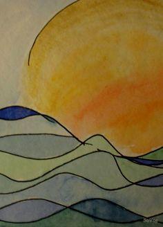 Sonne im Meer - eine Annäherung an die Arbeit mit Aquarellfarben