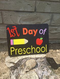 1st Day of Prechool Sign First Day of School by succulentsugar