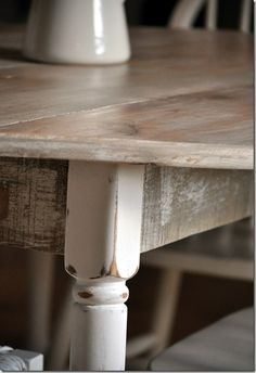 New look for an old Table~  New Wide Plank top w/ weathered wood stain from Home Depot