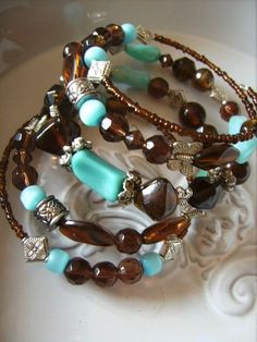 memory wire bracelet wrap around your arm bracelets chocolate and teal - by createddesignsbyrina on madeit
