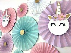 Use the leftover pinwheels from last bday party but add unicorn face to center :)