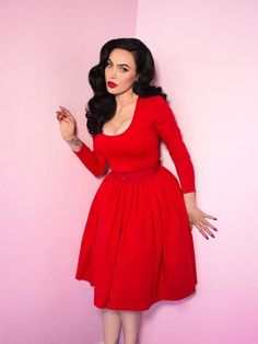 f34e7d14c5 Troublemaker Swing Dress in Ravishing Red - Vixen by Micheline Pitt 50  Fashion