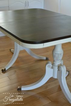 This duncan phyfe drum table was painted in maison blanche for Duncan 5 dining room table