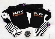 Happy Halloween v2 Black and White Striped Pajamas - Halloween Pajamas - Halloween Clothing by TwinkleTwinkleTees on Etsy Halloween Pajamas, Halloween Outfits, Happy Halloween, Kids Pajamas, Pjs, Cotton Pyjamas, Pj Sets, Striped Shorts, Heat Transfer Vinyl