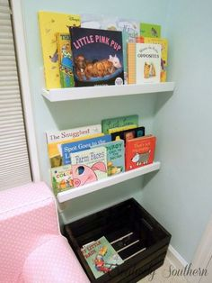 bookshelves for children s reading nook, storage ideas, Our daughter loves this space so far Books display so that she can see and reach them easily Old Bookcase, Ikea Billy Bookcase, Wood Bookshelves, Built In Bookcase, Bookshelf Ideas, Ikea White Shelves, Cube Storage Shelves, Corner Shelves, Storage Ideas