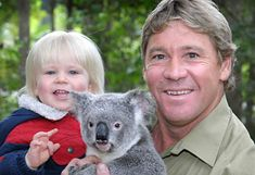 Steve and Robert Irwin, together with a baby Koala at Australia Zoo in Queensland, Australia.  v@e.