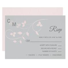 #Blush Pink & Grey RSVP Spring Summer Wedding Card - #rsvp #cards épondez s'il vous plaît
