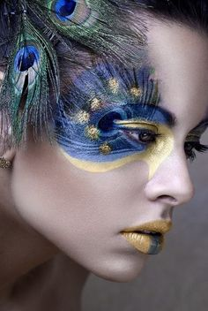 blue and gold peacock feathers around one eye