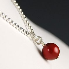 Deep Red Swarovski pearl pendant on Sterling Silver chain
