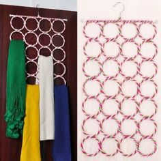 Wonder if there's a way to DIY this... Scarf Holders - 20 Creative Ways to Organize and Decorate with Hangers