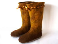 Felted brown wool slippersboots by Ulga on Etsy, $120.00